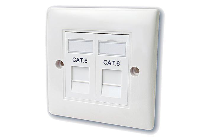 FSUK CAT6-FLUSH-PLAE-DOUBLE-MK2 Cat6 Flush Mounted Wall Plate Double