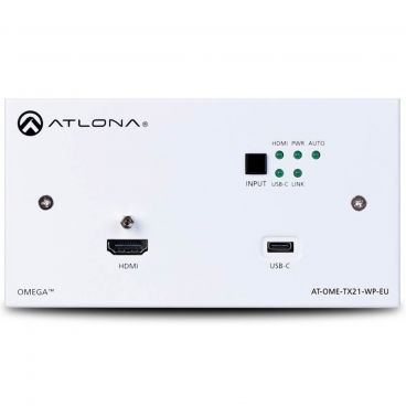Atlona AT-OME-TX21-WP-E Omega 2x HDMI Transmitter in a 2 Gang Wallplate Switcher for Europe (HDMI and USB-C)