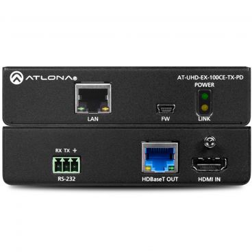 Atlona AT-UHD-EX-100CE-TX-PD 4K/UHD Remote Powered HDMI Over 100 M HDBaseT Transmitter with Ethernet, Control, and PoE