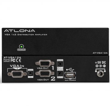 Atlona AT-VGA12A 1x2 VGA Distribution Amplifier with Audio and Constant Power ON