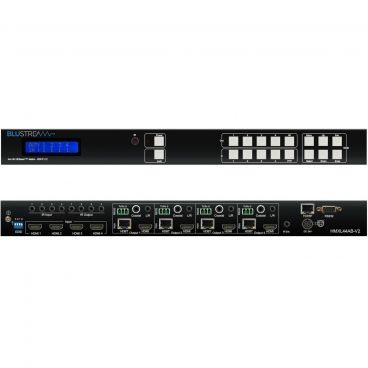 Blustream HMXL44-KIT-V2, HDCP 2.2, 4x4 HDBaseT Matrix Kit - Front & Back