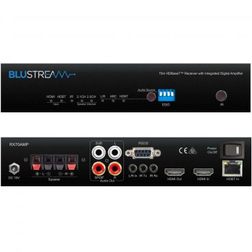 Blustream RX70AMP - HDBaseT Receiver - Front & Back