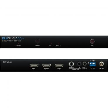 Blustream SW21AB-V2 2-Way 4K HDMI Switch - Front & Back