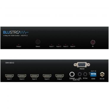 Blustream SW41AB-V2 4-Way 4K HDMI Switch - Front & Back