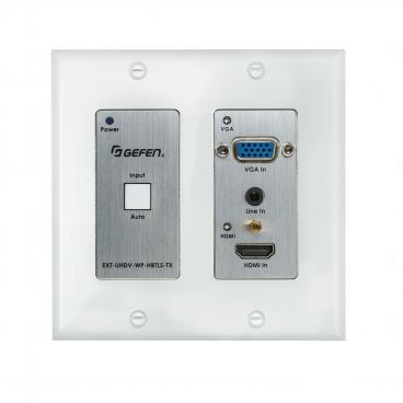 Gefen EXT-UHDV-WP-HBTLS-TX 4K Ultra HD Multi-Format 2x1 HDBaseT Wall-Plate Sender w/ Scaler, Auto-Switching, and POH