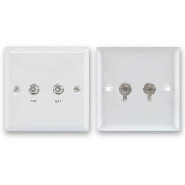 FSUK 2 x Satellite White Steel Wallplate