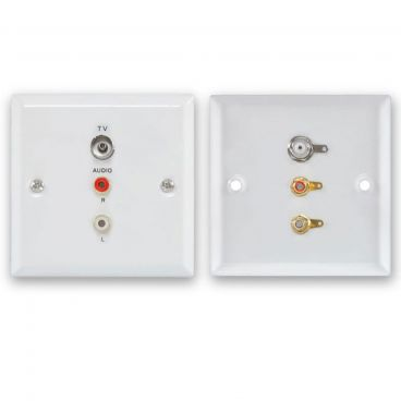 FSUK Aerial & Audio White Steel Wallplate
