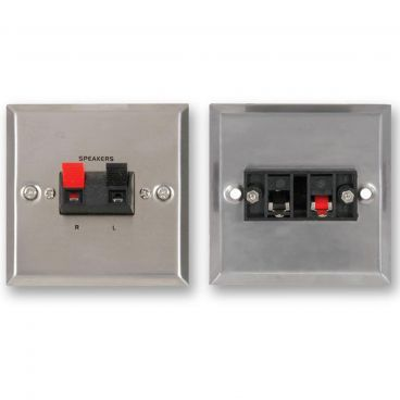 FSUK Steel Speaker Wallplate - Spring Terminals x2