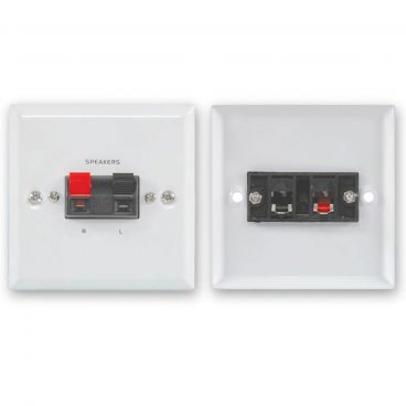 FSUK White Steel Speaker Wallplate - Spring Terminals x2