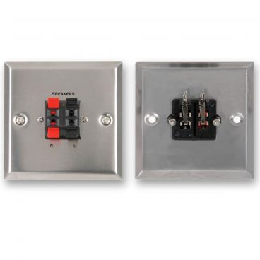 FSUK Steel Speaker Wallplate - Spring Terminals x4