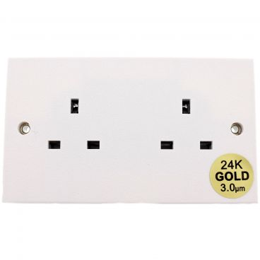 MS HD Power Audio Quality UK Double Gang Wall Socket Gold - MS9296G