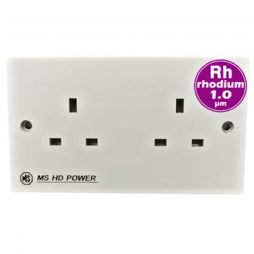 MS HD Power Audio Quality UK Double Gang Wall Socket Rhodium - MS9296Rh