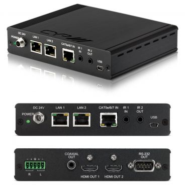 CYP 5-Play HDBaseT Receiver with dual HDMI ouputs & audio breakout (inc. PoE & dual LAN)