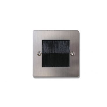 FSUK BRUSH-PLATE-LONG-STEEL Click Deco Single Brush Steel Wall Plate with Black Brushes