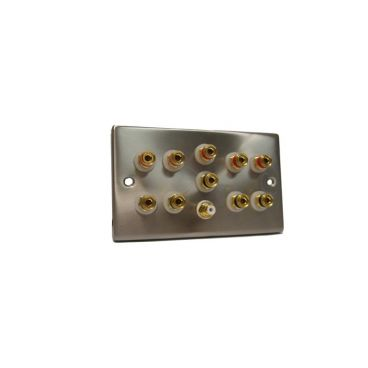 FSUK 5.1-SPEAKER-PLATE Satin Finish 5.1 Surround Sound Speaker Wall Plate
