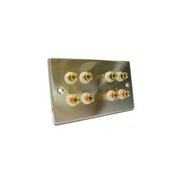 FSUK SPEAKER-POST-BINDING-8X4MM Speaker Cable Binding Post Wall Plate - 8 x 4mm Binding Posts