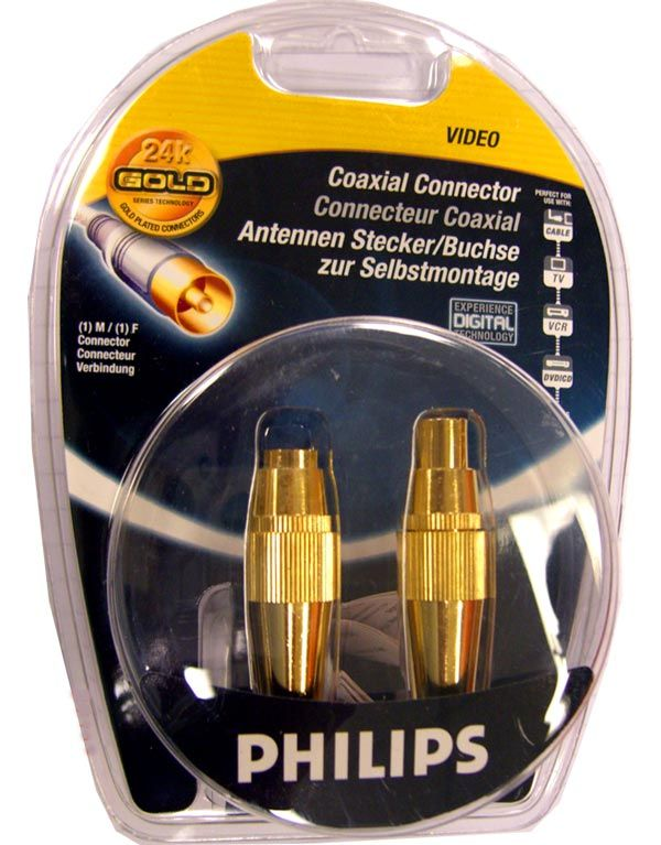 Philips Gold Plated Male & Female Aerial Coax Plugs (Pair)