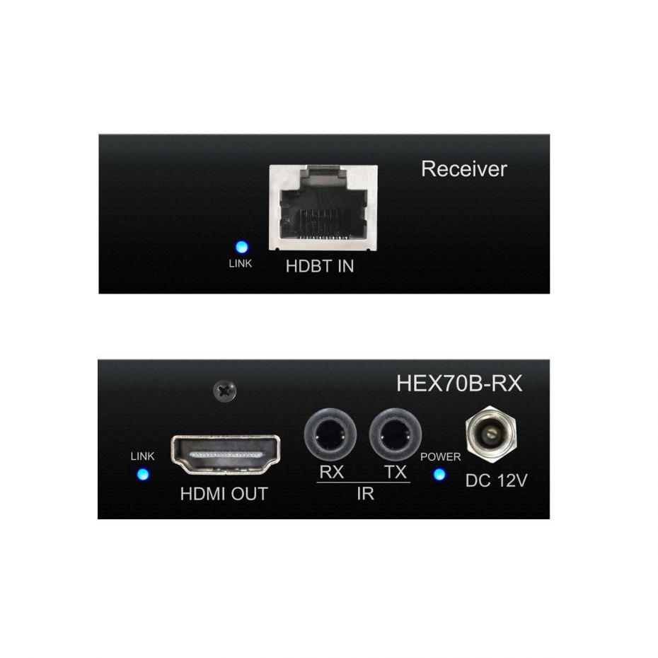 Blustream HEX70B-RX - HDBaseT Receiver - Front & Back