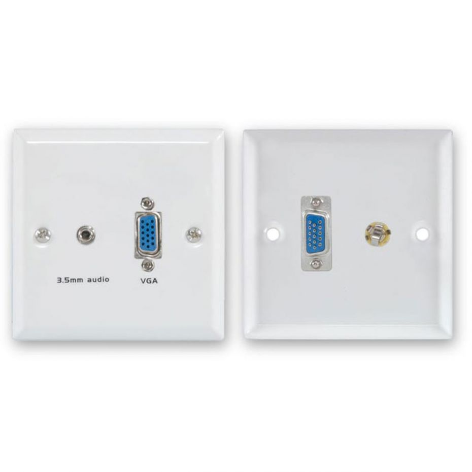 FSUK VGA/Audio White Steel Wallplate