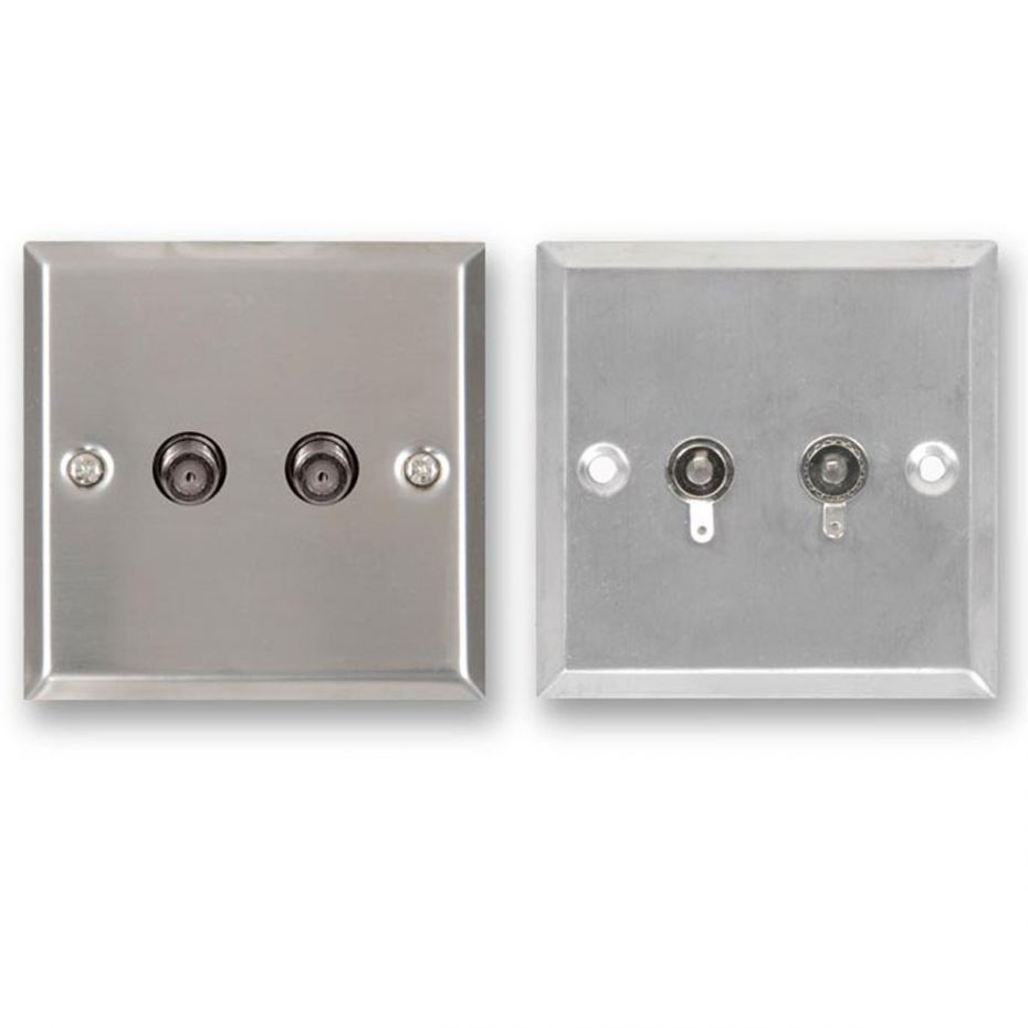 FSUK 2 x Satellite Steel Wallplate