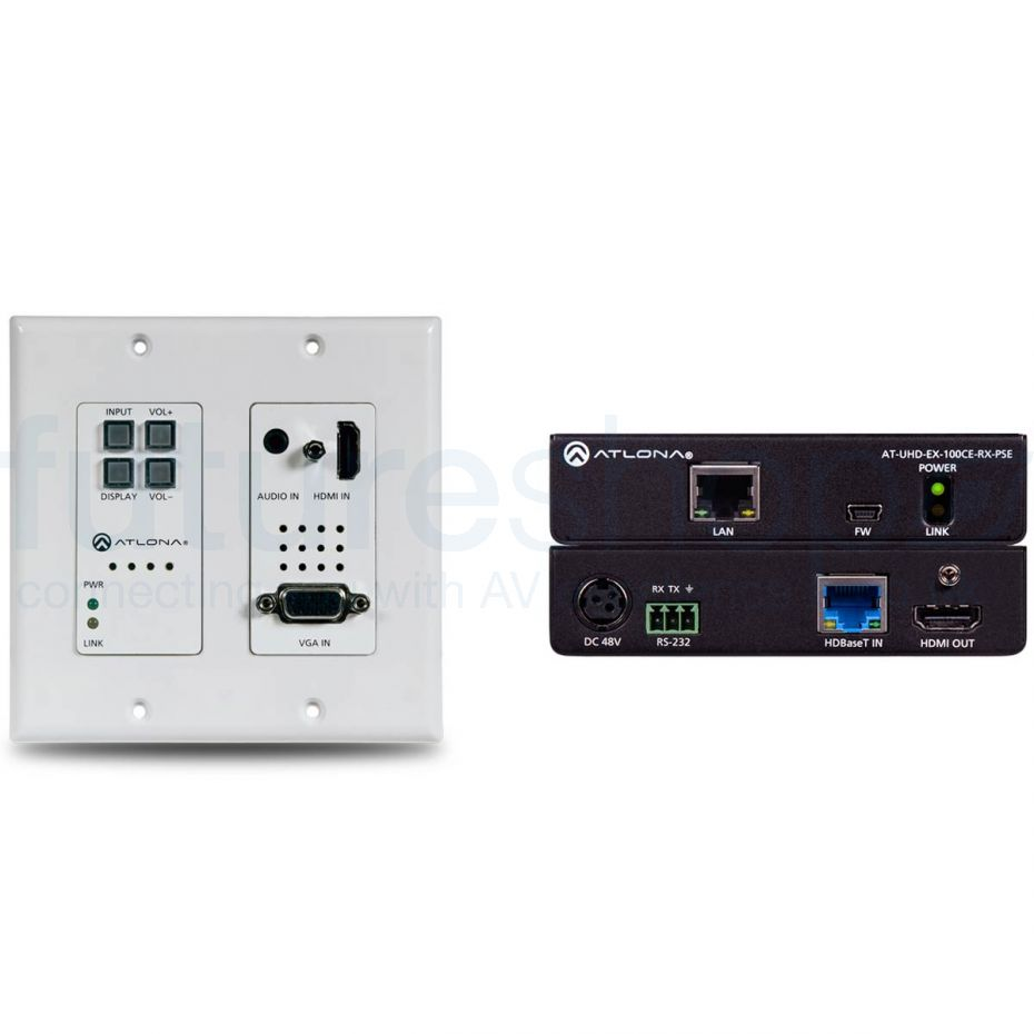 Atlona AT-4K-HDVS-WP-EXT 4K/UHD HDBaseT TX/RX with Two-Input Wallplate Switcher, Ethernet, Control, and PoE