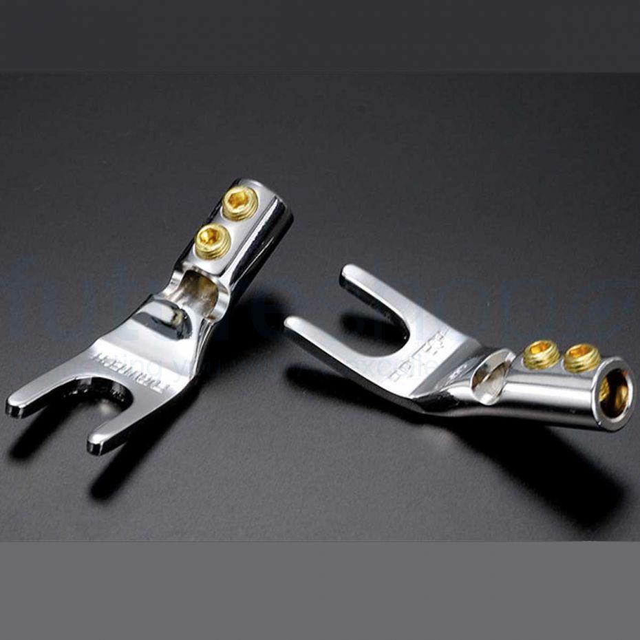 Furutech FP-201 Rhodium High Performance Audio Spade Terminals - Pack of 4