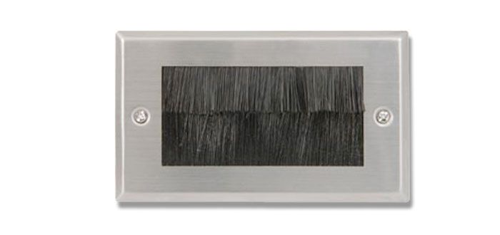 FSUK B Click Deco Double Brush Steel Wall Plate with Black Brushes