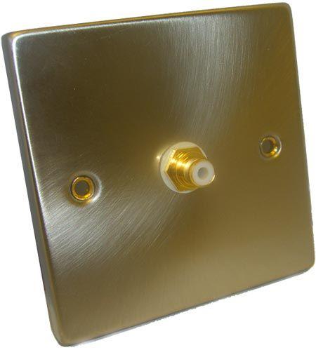 FSUK SINGLE-PHONO-PLATE Satin Finish Single Phono Wall Plate UK - 1 x Phono Socket