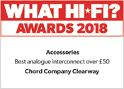 Chord Company Clearway Analogue Interconnect What Hi-Fi? Awards? 2018