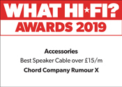 Chord Rumour X What Hi-Fi? award for Speaker cable over £15/m