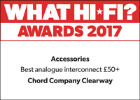 Chord Company Clearway Interconnect What Hi-Fi? Award