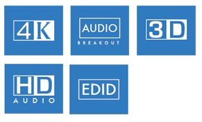 BluStream 4-way 4K HDMI Switch Icons