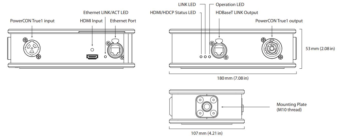 Theatrixx xVision HDMI 2 HDBaseT Line Diagram