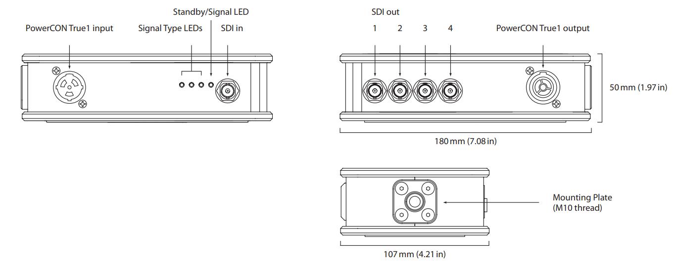 Theatrixx xVision SDI DA 1 to 4 Line Diagram